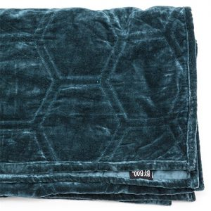 Petrol Blue Stitched Velvet Throw