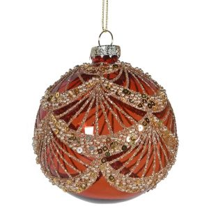 Amber & Gold Swag Bauble