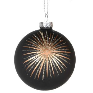 Black Bauble with Golden Star Burst