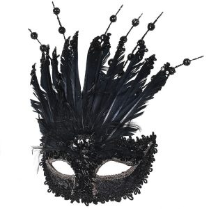 Black Glitter Feather Mask