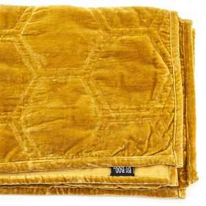 Mustard Stitched Velvet Throw
