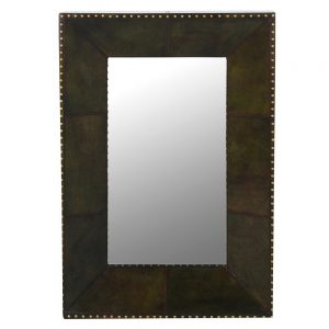 Buffalo Green Leather Wall Mirror