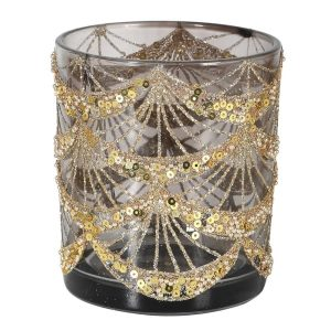Gold Glitter Swag Candle Holder