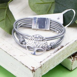 Multi Strand Leather Bracelet with the Tree of Life