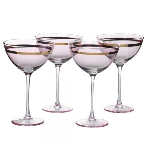 Pink with Gold Detail Champagne Glass