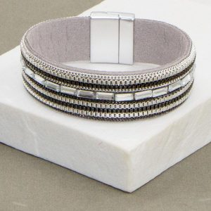 Cuff Bracelet with Crystal Studs