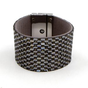 Crystal Cuff Bracelet with a Twist Clasp