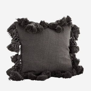 Dark Grey Cushion with Tassels