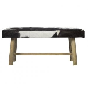 Black & White Cowhide Bench