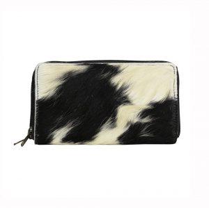 Black & White Cowhide Zip Purse