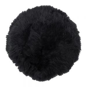 Silky Sheepskin Round Seat Pad in Dark Navy