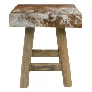 Stool Brown & White Cowhide