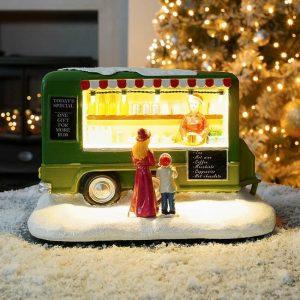 Green Lit Camper Van with Music