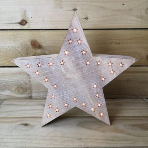 Lit White Washed Wooden Star