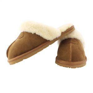 3-4 Chestnut Ladies Sheepskin Suede Slipper