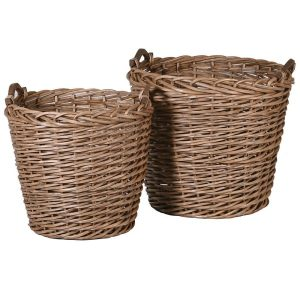 Set of Two Willow Baskets with Handles