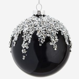 Black & Silver Glitter Top Bauble