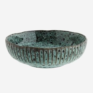 Turquoise Stoneware Serving Bowl