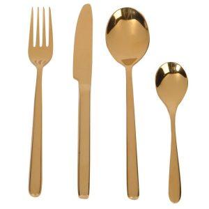 Four Piece Gold Cutlery Set