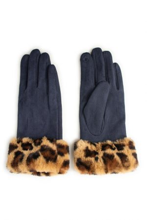 Navy Blue Gloves with Faux Fur Leopard Print