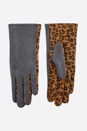 Velvet Gloves with Leopard Print Design
