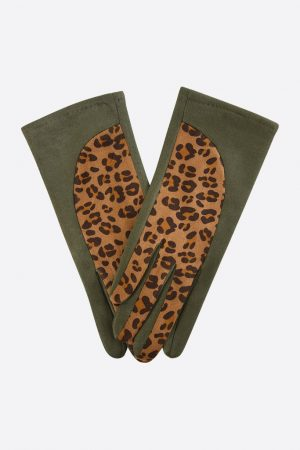 Khaki Velvet Gloves with Leopard Print