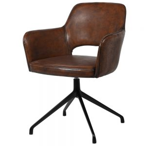 Vintage Brown Faux Leather Swivel Chair