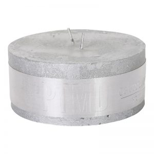 Rustic Silver Pillar Candle