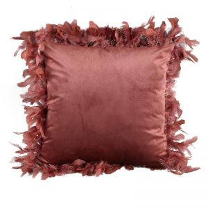 Pink Velvet Cushion with Feather Trim