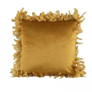 Yellow Velvet Cushion with Feather Trim