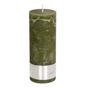 Rustic Olive Green Pillar Candle