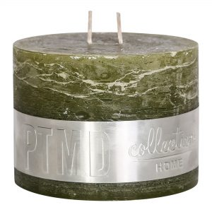 Rustic Olive Green Block Candle 12x9cm