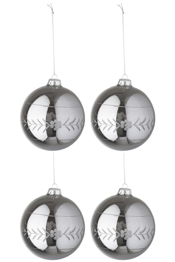 Christmas Ball Carved Glass Pearl