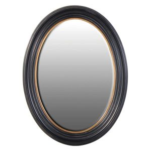 Large Black with Gold Trim Oval Mirror