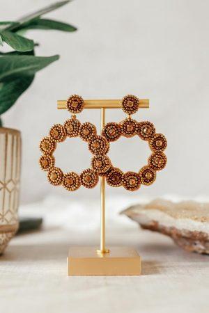 Gold Beaded Circle Earrings