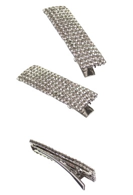 Crocodile Clips with Clear Crystals