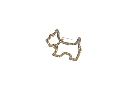 Westie Brooch Antique Gold with Crystals