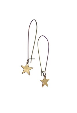 Star Earrings with Elongated Hook