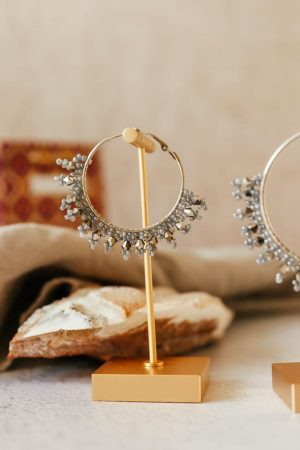 Small Beaded Silver Hoops