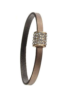 Leather Bracelet with Crystal Barrel