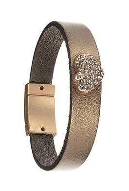 Leather Bracelet in Metallic Mocha with Encrusted Crystal Heart