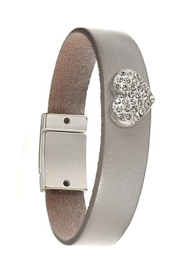 Metallic Grey Leather Bracelet with Encrusted Crystal Heart