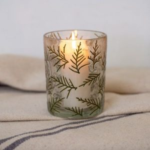 Hurricane Glass with Votive Leaf