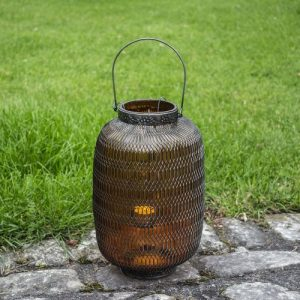 Large Honeycomb Lantern in Amber