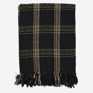 Black & Beige Check Woven Throw