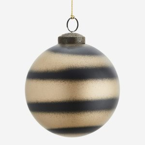 Black & Gold Glass Bauble with Stripes
