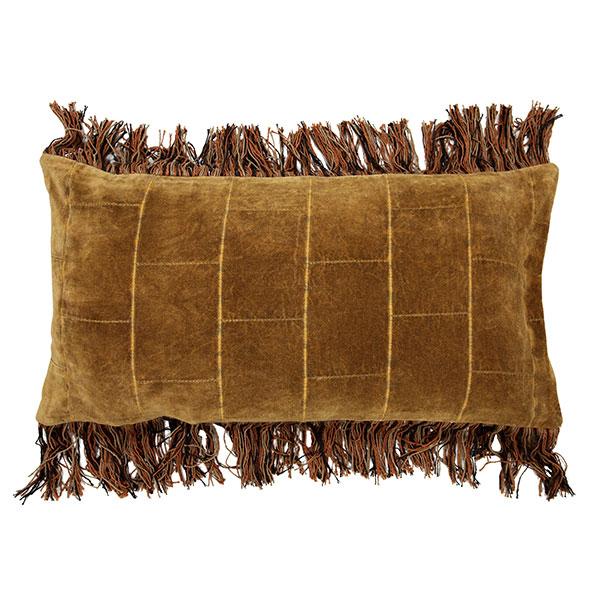 Shabby Velvet Ochre Cushion