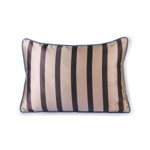 Stripe Satin & Velvet Cushion Brown & Natural