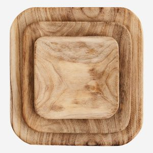 Set of 3 Square Wooden Plates