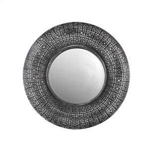 Round Dark Grey Stone Effect Mirror